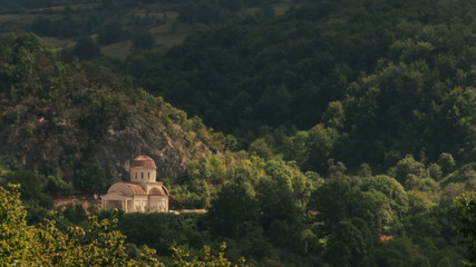 Monastery in Transylvania surrounded by forest