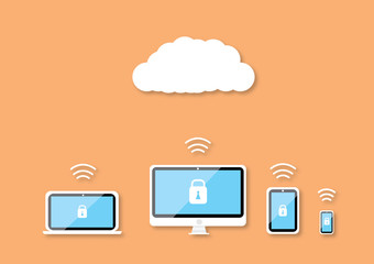Security technology on cloud background
