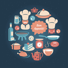Food and cooking icons round set