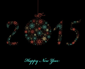 Happy New Year Greeting card 2015. Vector