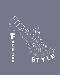 Shoe from words. Vector