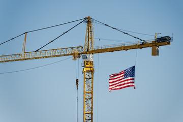 big crane with american flag