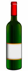 Klassische Rotweinflasche mit Etikett, freigestellt
