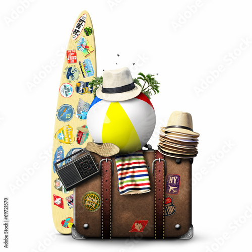 Travel, retro suitcase with travel hats, surfboard and old shoes