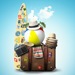 Travel, retro suitcase with travel hats, surfboard