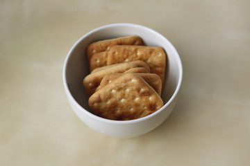 Crackers in a white bowl