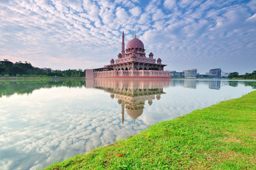 Putra Mosque is a famous landmark in Malaysia.