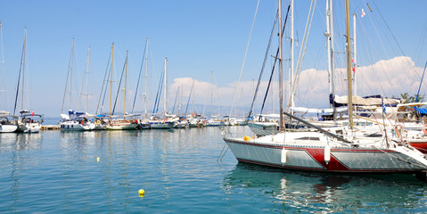 yachts in the harbor at sea