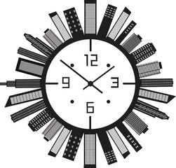 Clock with buildings. Vector