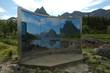 Leinwandbild Motiv Art object in landscape in Lofotens