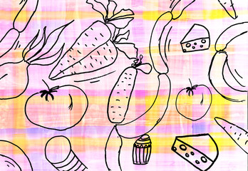 Children's drawing of food background