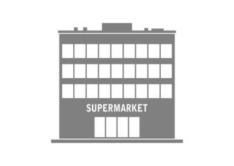 Grey supermarket icon on white background