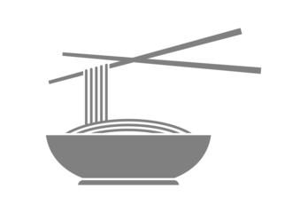 Grey noodle icon on white background