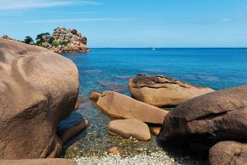 Ploumanach rock beach on a sunny day. Brittany, France.