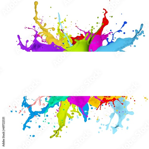 Deurstickers Abstract wave Fresh banner with colorful splash effect