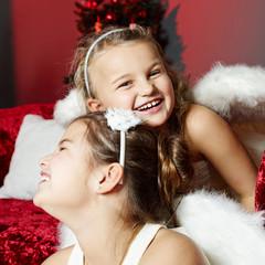 Two girls on Christmas Eve