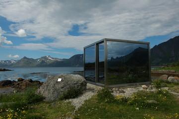 Art object in landscape in Lofotens