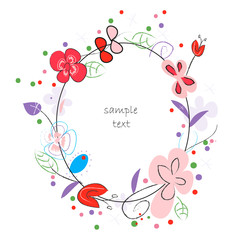 Floral background vector greeting card with decorative flowers