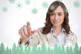 Portrait of businesswoman pointing her finger