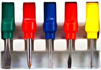 Set of screwdriver in a box