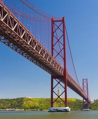 The 25 de Abril Bridge in the city of Lisbon.