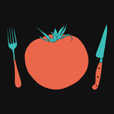 Cute tomato vector illustration. Doodle kitchen design