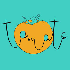 Doodle tomato with hand lettering