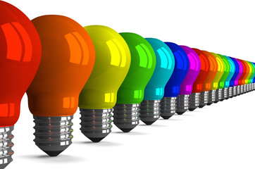 Many tungsten light bulbs of rainbow colors, perspective view