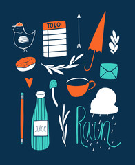 Doodle vector art print with small hand drawn elements
