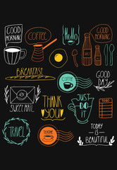 Doodle kitchen art print. Morning food and hand lettering