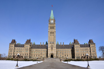 Parliament Buildings in winter, Ottawa, Canada