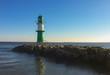 canvas print picture - grüner Leuchtturm
