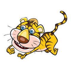 cartoon little tiger playing