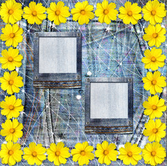 Old vintage postcard with beautiful yellow flowers on blue jeans