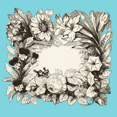 cadre fleurs sur fond bleu