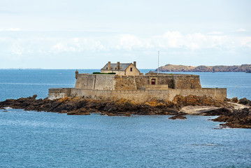 Fort National, fortress on tidal island Petit Be in Saint-Malo.