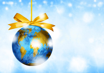 World map globe ornament ball. Christmas. Winter travel.
