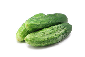 fresh green cucumber on white background