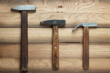 different hammers on the table