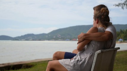 Young Couple in Love at the Sea.
