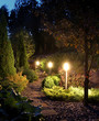Illuminated garden path patio - 69726703