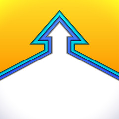 Colorful up arrow with yellow and blue paper layers