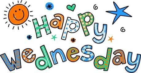Happy Wednesday Cartoon Text Clipart