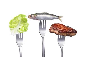 Salatblatt, Fisch und Fleisch