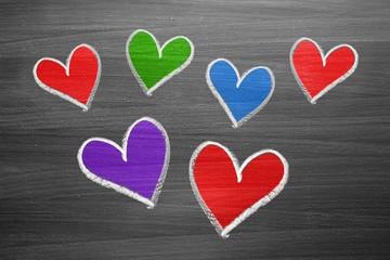 color chalk heart shapes
