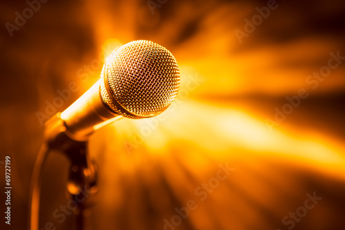 canvas print picture golden microphone on stage