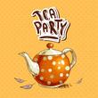 Obrazy na płótnie, fototapety, zdjęcia, fotoobrazy drukowane : Tea party invitation card with a Cups and Pot