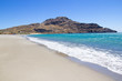 seashore with blue transparent water on Crete island in Greece