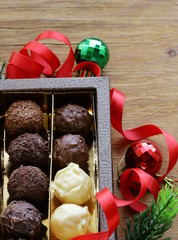 Gift box of chocolates candy truffle dessert for Christmas