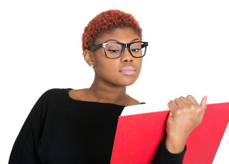 Young nerdy woman reading book, white background
